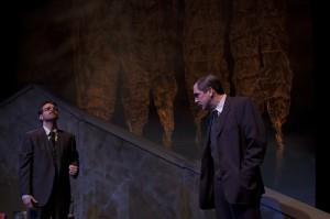 Jay Perry (Hayek) and Mark Fossen (Keynes) in Eric Samuelsen's CLEARING BOMBS
