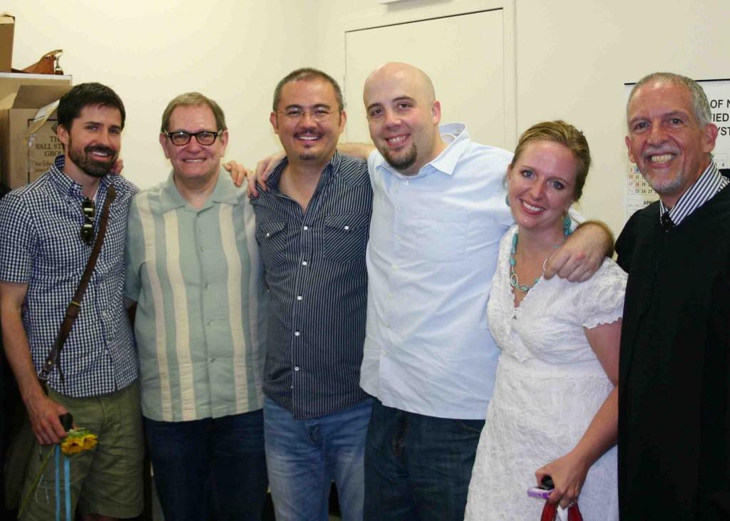 Jedadiah Schultz, David Spencer, Jerry & Kirt, Susannah Derbenwick, Judge Michael Sonberg (Wedding Day, July 24, 2011)