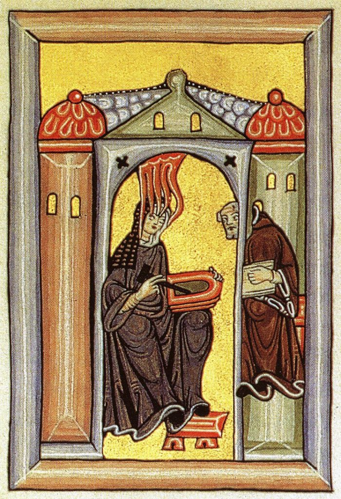 Hildegard's self portrait of herself receiving a vision with Volmar observing