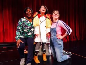 Presley with actors Dee-Dee Darby-Duffin and Anne Louise Brings