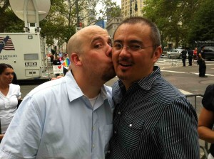 Kirt & Jerry waiting in line to enter the New York City Clerk's Office (Wedding Day, July 24, 2011)