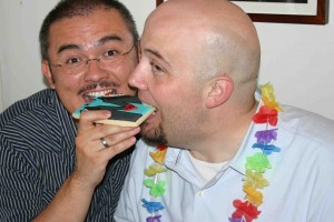 Our version of feeding each other wedding cake!