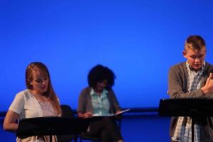Sarah Young, Latoya Rhodes & Topher Rasmussen in the staged reading of #MORMONINCHIEF | Photo credit Mark Fossen
