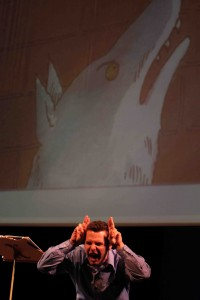 Jay Perry narrating PETER AND THE WOLF | Photo credit Mark Fossen