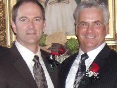 Brent Schneider & Kim Blackett on their wedding day